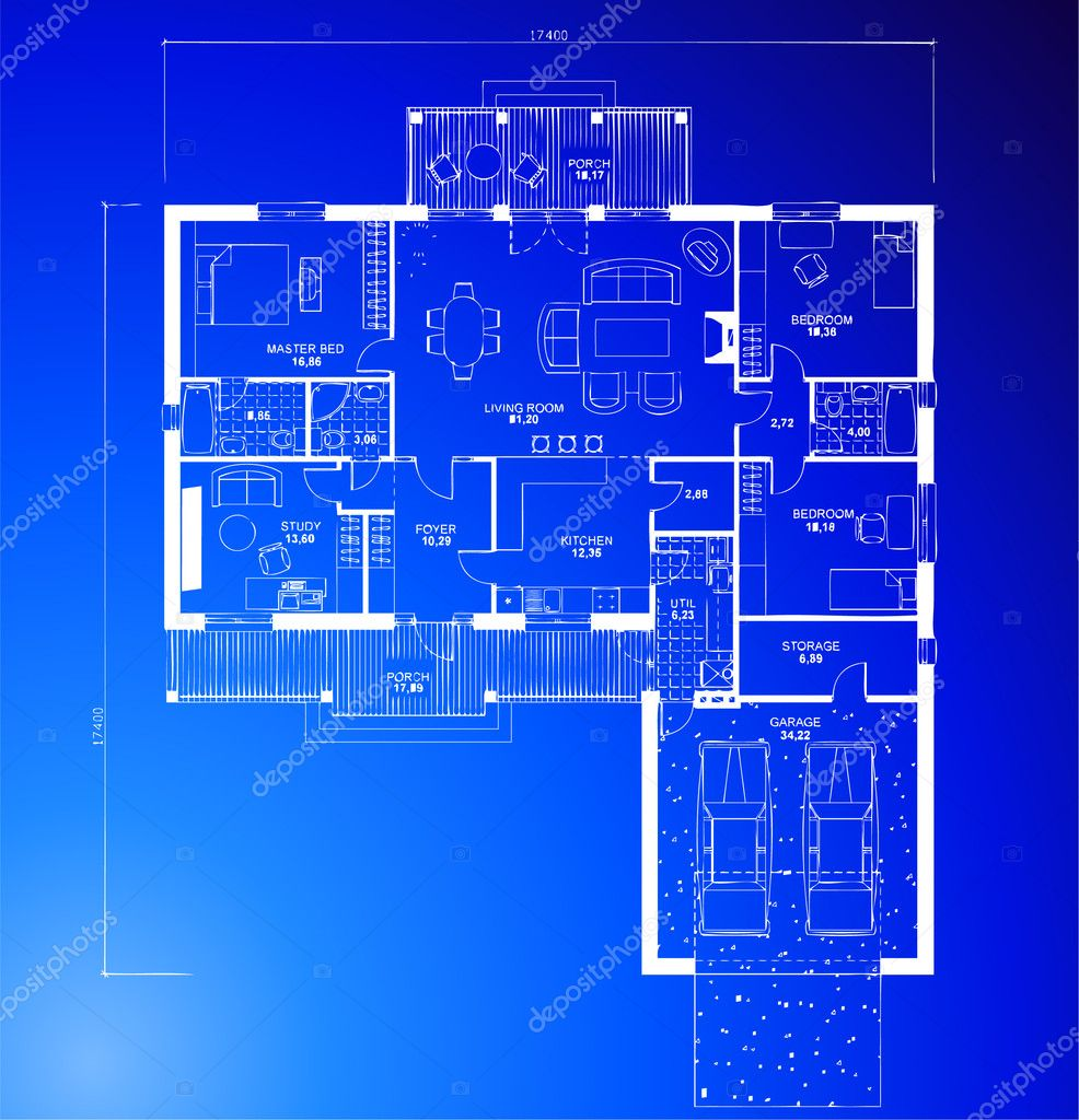 Architectural blueprint background vector stock vector for Blueprint house plans