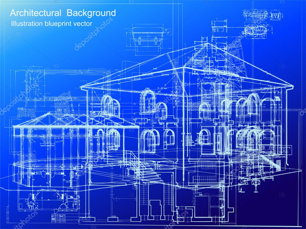Architectural white plan blueprint background. Vector illustartion — Grafika wektorowa #3577496