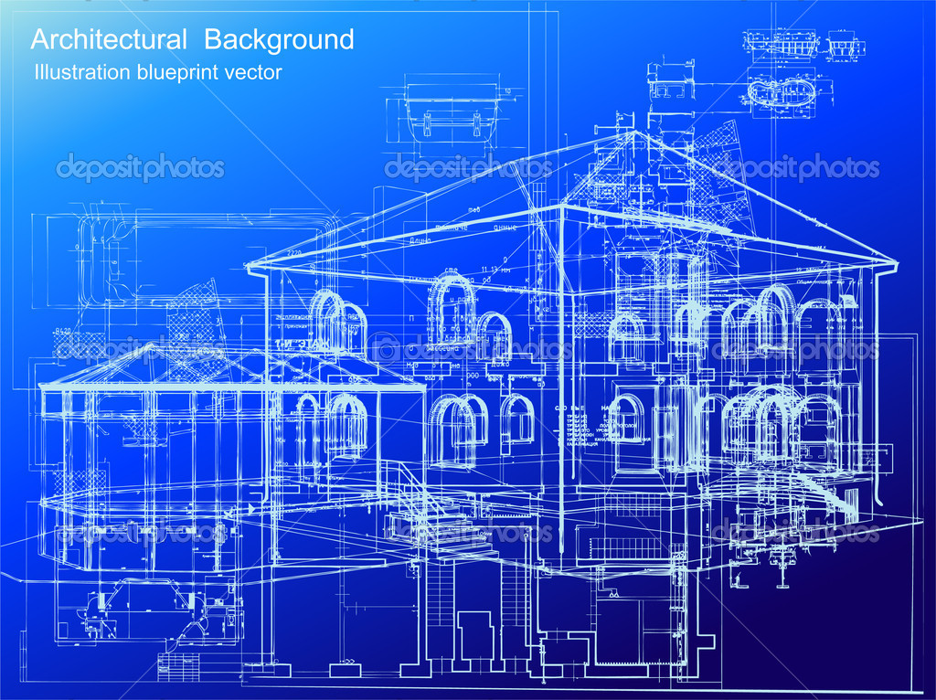 Architectural blueprint background vector stock vector for Architecture design blueprint