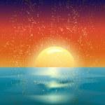 Vector vintage illustration of the sunset on sea — Stock Vector