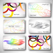 Set of 6 metallic themed business card templates — Cтоковый вектор