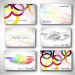 Set of 6 metallic themed business card templates — Stock Vector