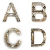 Wooden alphabet. letters isolated on white — Stock Photo