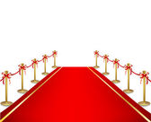 A red carpet and velvet rope. Vector — Stock Vector