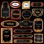 Decorative black golden frames labels . Vector — Stock Vector
