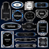 Decorative black silver frames labels . Vector — Stock Vector