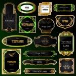 Set decorative black golden frames labels. Vector — Stock Vector #3730050