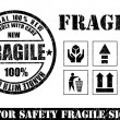 Royalty-Free Stock Vector Image: Fragile signs and stamp. Vector