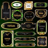 Set decorative black golden frames labels. Vector — Stock Vector