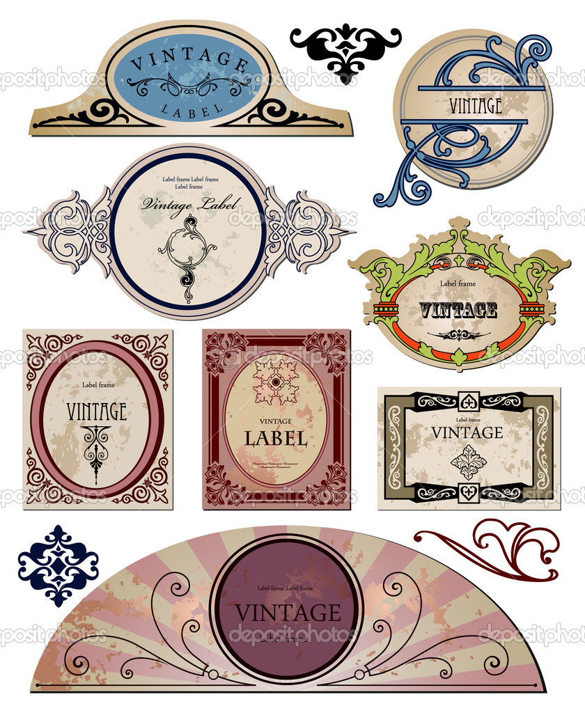 Set vintage labels  for your design. Vector illustration — Stock Vector #3730126