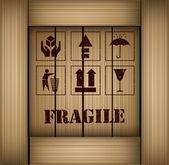 Safety fragile sticker icon set vector — Stock Vector