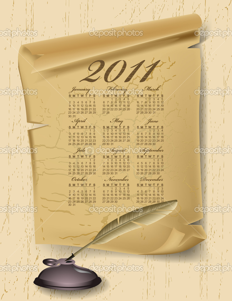 Calendar Illustration Board : Old paper with calendar year on wood board — stock