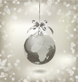 Christmas silver globe with world map — Stock Vector