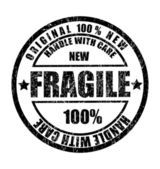 Grunge rubber stamp with the text fragile — Vecteur