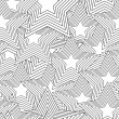 Retro black and white seamless star - Stock Vector