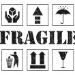 Safety fragile grey signs. Vector - Stock Vector