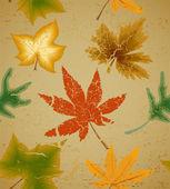 Fondo inconsútil cosecha de otoño arte hoja — Vector de stock