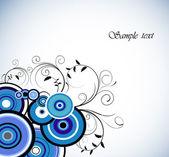 ロマンチックな青色のリング。花の背景。ベクトル — ストックベクタ