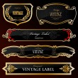 Decorative black golden labels . Vector — Imagens vectoriais em stock