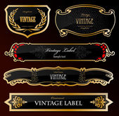 Decorative black golden labels . Vector — Stock Vector