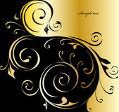 Black and gold floral background. Vector — Stock Vector