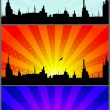 Royalty-Free Stock Vector Image: The illustrated city at various times days
