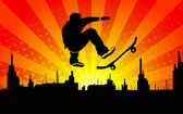 Teen makes a jump on a skateboard on the cityscape — Stock Vector