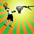 Basketball sportsman in the game win. Vector — Stockvektor