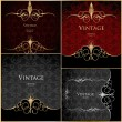 Set vintage stylized floral gold background - Stock Vector