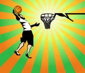 Basketball sportler in den spielgewinn. vektor — Stockvektor