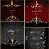 Set vintage stylized floral gold background — Stock Vector