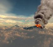 Erupting of volcano — Stock Photo