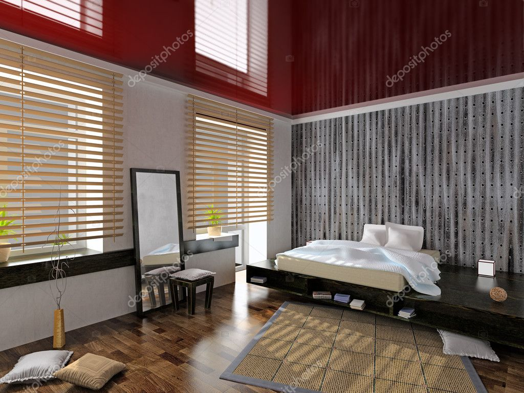 Modern bedroom interior (3D rendering) — Stock Photo #3324765