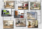 Moderne interieur afbeelding instellen — Stockfoto