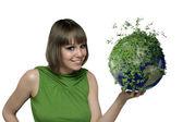 Dívka s zelená planeta — Stock fotografie