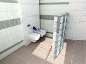 Moderní toaletní interiér — Stock fotografie
