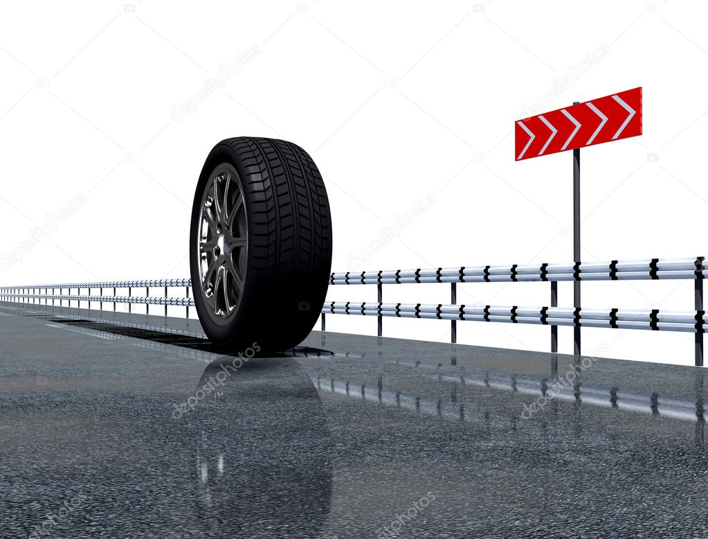 Wheel on the asphalt road over the white background  Stock Photo #3333386