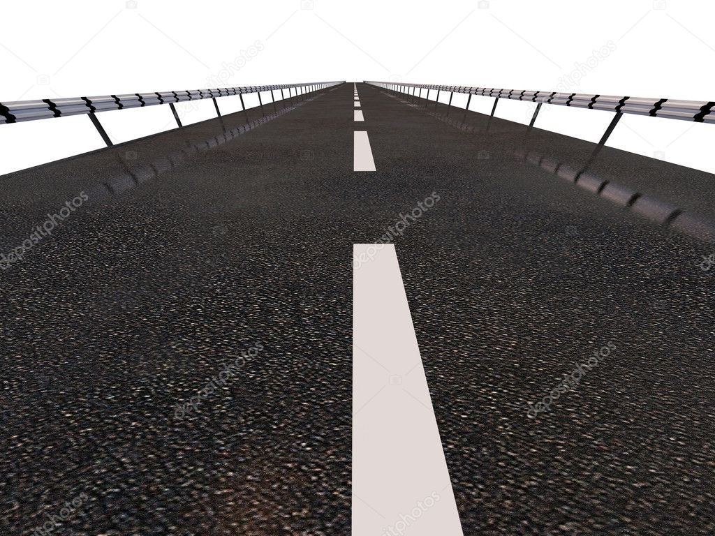 Highway line over white background (3d rendering) — Stock Photo #3333388