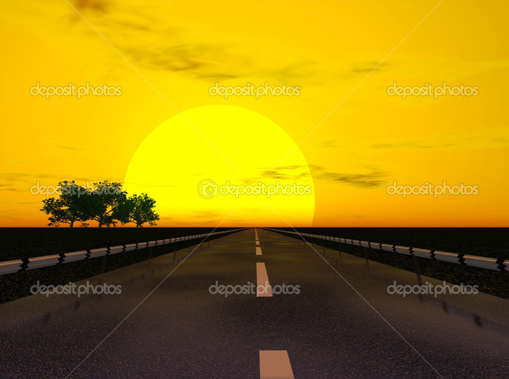 Sunset  under highway landscape (3d rendering image) — Photo #3333398