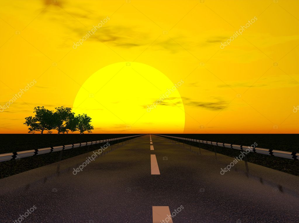Sunset  under highway landscape (3d rendering image) — Foto Stock #3333398