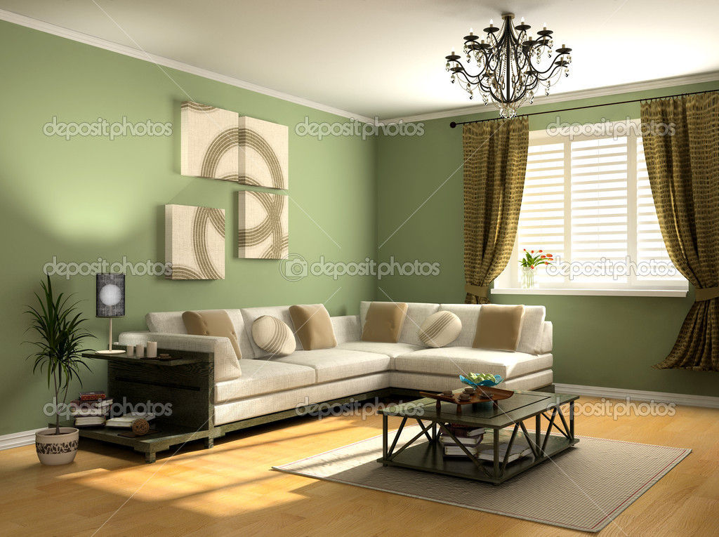 Modern interior design (private apartment 3d rendering) — Stock Photo #3333511