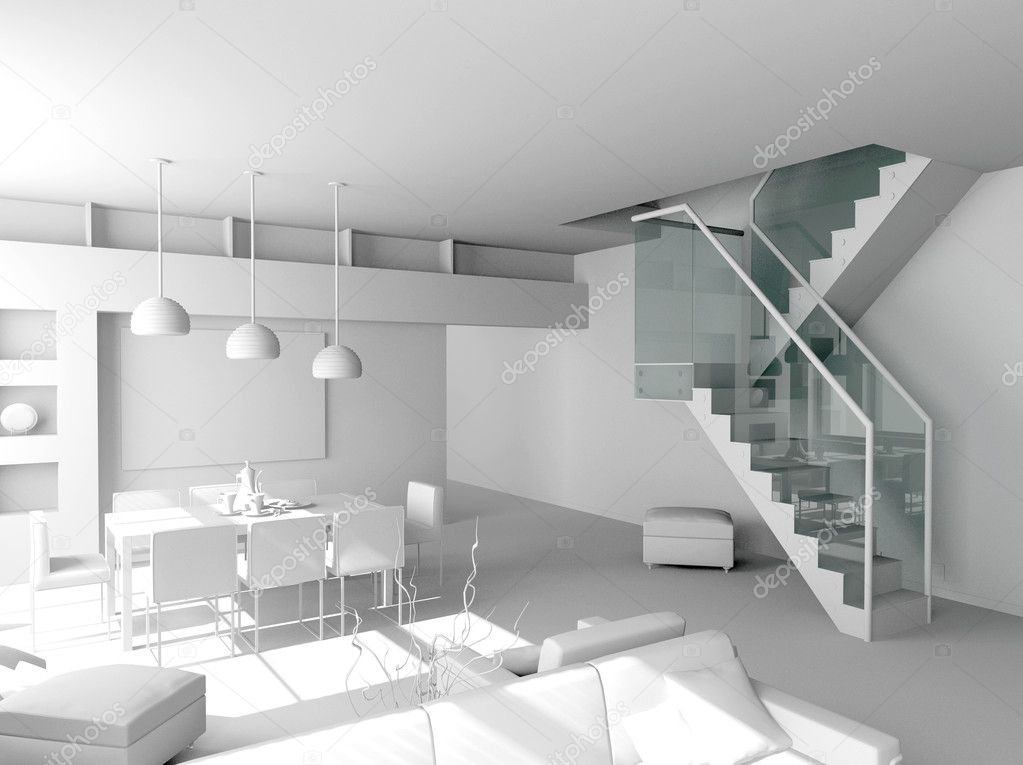 Blank modern interior design (private apartment 3d rendering) — Stock Photo #3333663