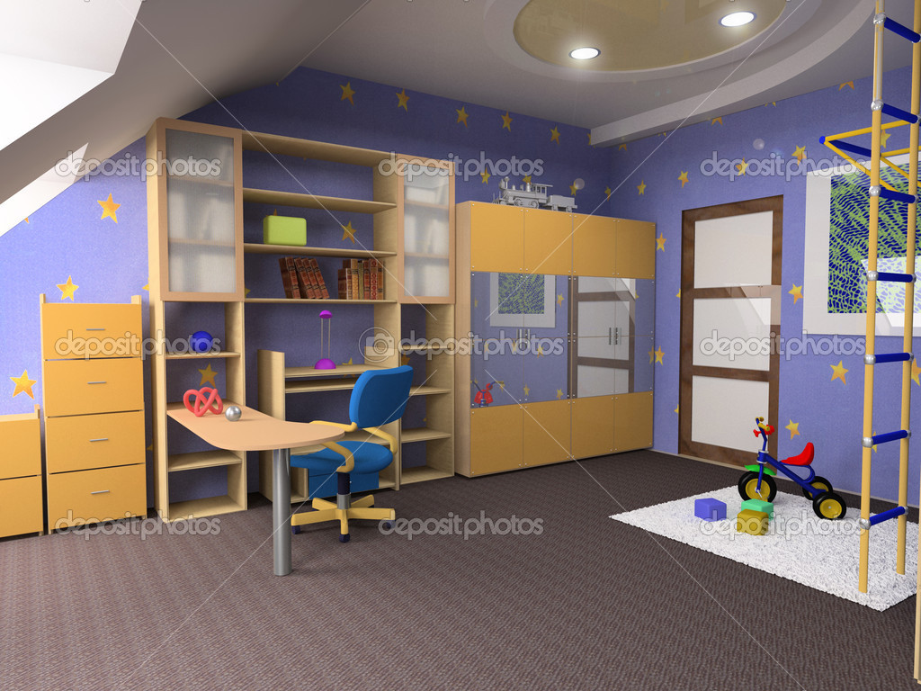 Childroom modern design in loft apartment (3D image) — Stock Photo #3333992