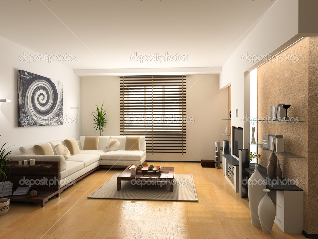Modern interior design (private apartment 3d rendering)  Stock Photo #3334259