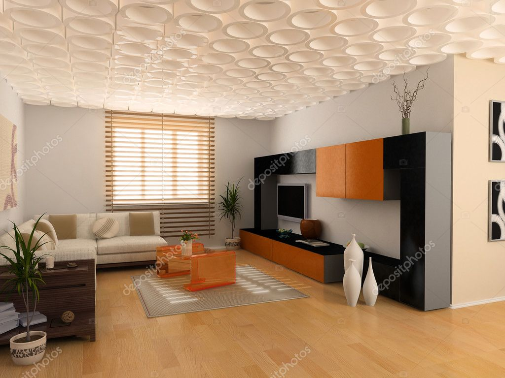 Modern interior design (private apartment 3d rendering) — Stock Photo #3334271