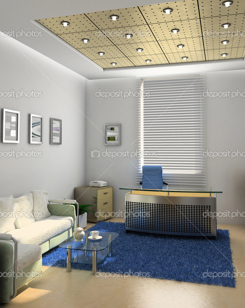 Interior of the boss office room (3D) — Stock Photo #3353258