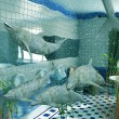 Bathroom dolphins — 图库照片