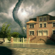 Tornado over the house - Stock Photo