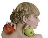 Girl & apple — Stock Photo