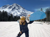 Girl - snowboarder — Stock Photo
